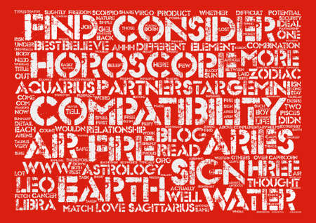 compatibility: Compatibility Horoscope text background word cloud concept