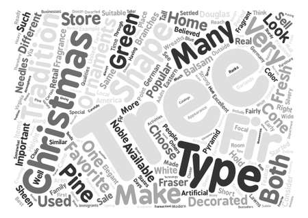 Christmas Tree Types Word Cloud Concept Text Background