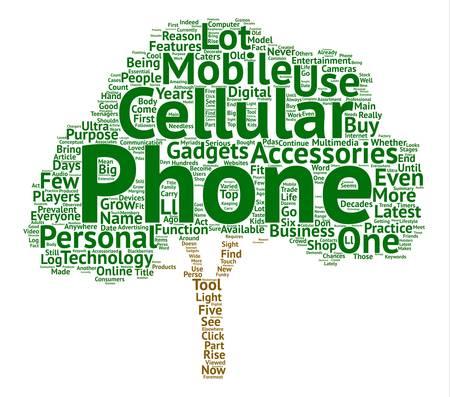 휴대 전화 및 액세서리 텍스트 배경 단어 구름 개념