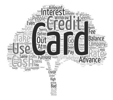신용 카드 현금 전진 텍스트 배경 단어 구름 개념 일러스트