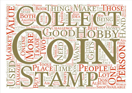 coin collector stamp text background word cloud concept