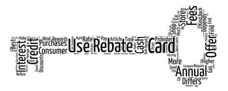 rebates: Credit Card Rebates Rewards Word Cloud Concept Text Background Illustration