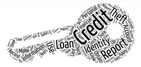 check credit report identity theft Word Cloud Concept Text Background Illustration