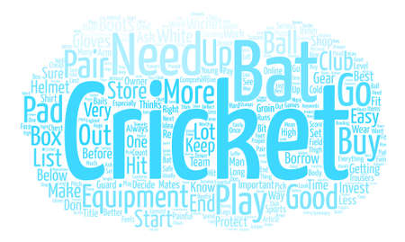 Cricket Equipment text background word cloud concept