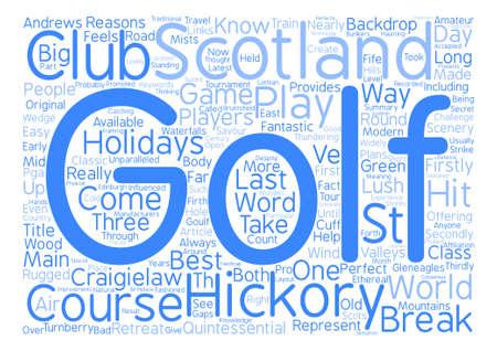 スコットランドの単語クラウド コンセプト テキスト バック グラウンドでクラシック ゴルフ