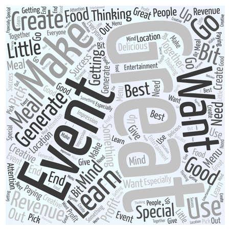 Aprende cómo crear un evento que genere ingresos para ti Word Cloud Concept Ilustración de vector