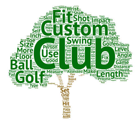 fitting: custom golf club text background word cloud concept