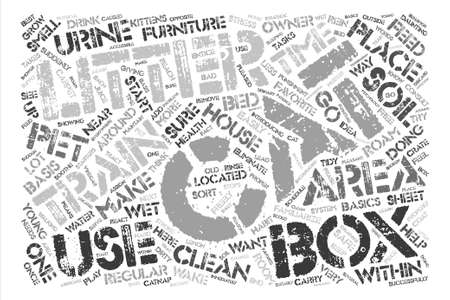 cat s: CT how to litter train your cat text background word cloud concept