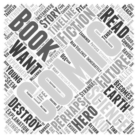 The science fiction of comic books Word Cloud Concept