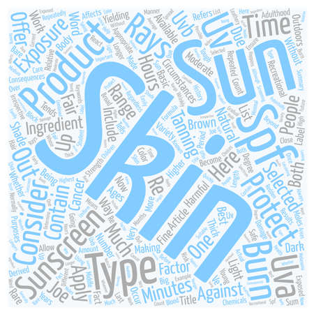Skin Types Sunscreen Products SPF text background wordcloud concept
