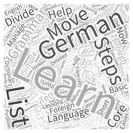 correlate: The Ten Steps in Learning German through Foreign Language Training Word Cloud Concept