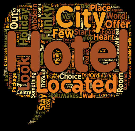 The Top 10 Funky Hotels text background wordcloud concept