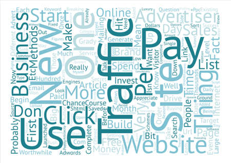 How do I drive traffic to a brand new website text background word cloud concept