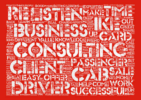 Taxi Welche Berater können von Cab Drivers lernen Word Cloud Concept Text Hintergrund Vektorgrafik