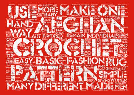 Häkeln Afghanischen Muster Word Cloud Konzept Text Hintergrund ...