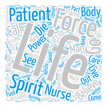 This I Believe as to How and Why Some Patients Refuse to Die Word Cloud Concept Text Background Illustration