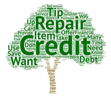 Drie eenvoudige manieren om mijn kredietreparatietips te gebruiken en duizenden Word Cloud-concepttekst te besparen Stock Illustratie