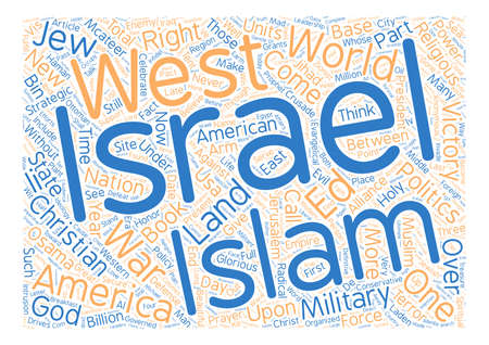 he will also invade the beautiful land the u s israel strategic alliance part iii text background word cloud concept Illusztráció