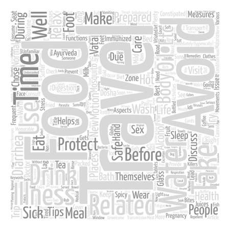 be ill: Health care for globe trotters text background wordcloud concept Illustration