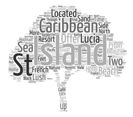 South Pacific Island in the Caribbean Sea text background word cloud concept