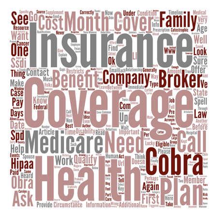 Health Insurance COBRA OBRA HIPAA Medicare Definitions Relationships text design word cloud concept