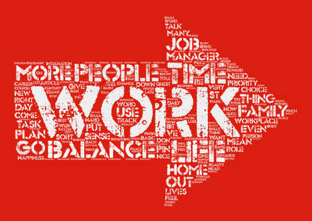 The work life balance Word Cloud Concept Text Background Illustration