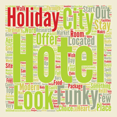 The Top Funky Hotels text background word cloud concept