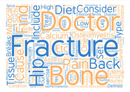 defined: Back Pain and Fractures text background word cloud concept Illustration