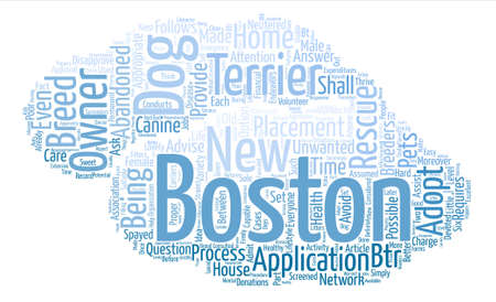 boston dog rescue terrier Word Cloud Concept Text Background