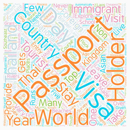 Live And Stay In Thailand With A Passport Holder text background wordcloud concept