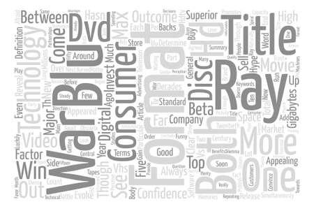 blu ray: Blu ray Is Superior To HD DVD In Terms Of Capacity text background word cloud concept Illustration