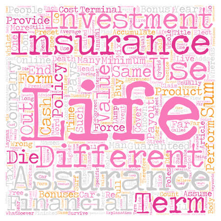 searches: Life Insurance and Life Assurance are not the same text background wordcloud concept