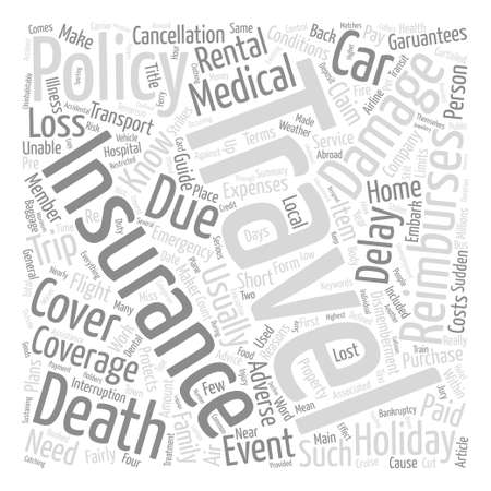 general insurance: A short guide to travel insurance Word Cloud Concept Text Background Illustration