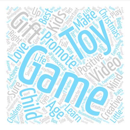 Sind Spielzeug Videospiele Die richtigen Weihnachtsgeschenke für Kinder Word Cloud Konzept Text Hintergrund Standard-Bild - 74202460