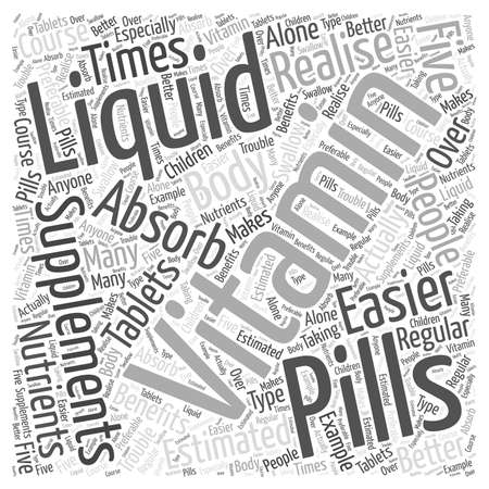 absorbed: Liquid Vitamin Word Cloud Concept Illustration