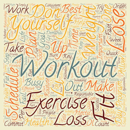 Lose Weight How to Exercise and Burn Fat on a Busy Schedule text background wordcloud concept Stock Illustratie
