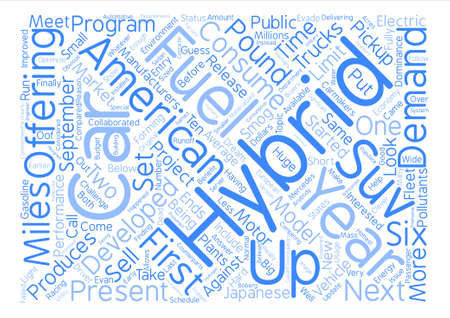 counterparts: american hybrid cars Word Cloud Concept Text Background