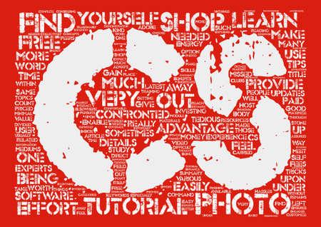 cs: Advantages Of Cs Photo Shop Tutorials text background word cloud concept Illustration