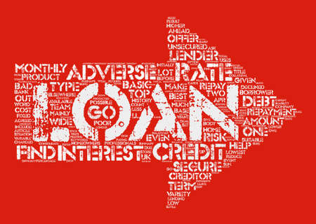 Adverse Credit Loans Word Cloud Concept Text Background