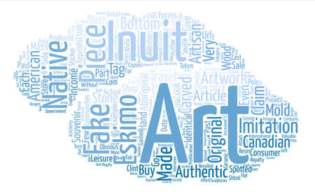 Authenticity of Eskimo Inuit Art Native Indian Art text background word cloud concept