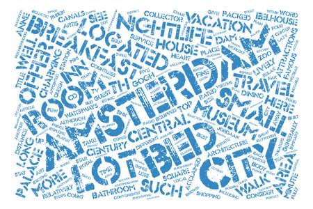 암스테르담 침대와 아침 단어 구름 개념 텍스트 배경