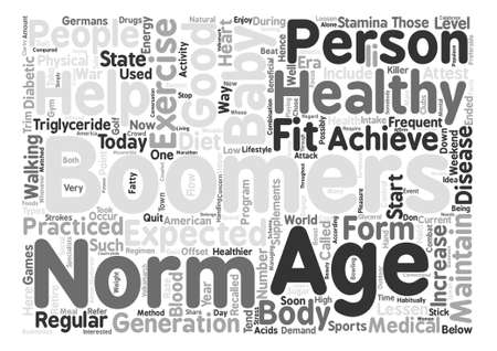 boomers: baby boomers age expected norms text background word cloud concept