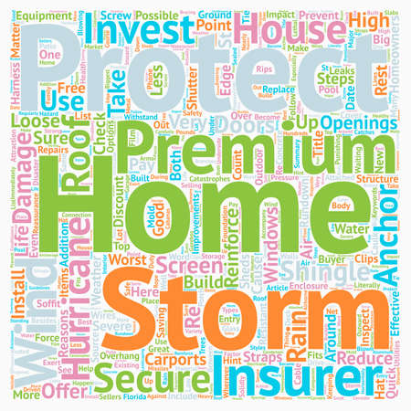 Protect Your Home  Storms And Hurricanes text background wordcloud concept