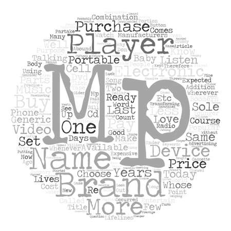 브랜드 이름 또는 일반 Mp와 Mp 선수를 구입 텍스트 배경 단어 구름 개념