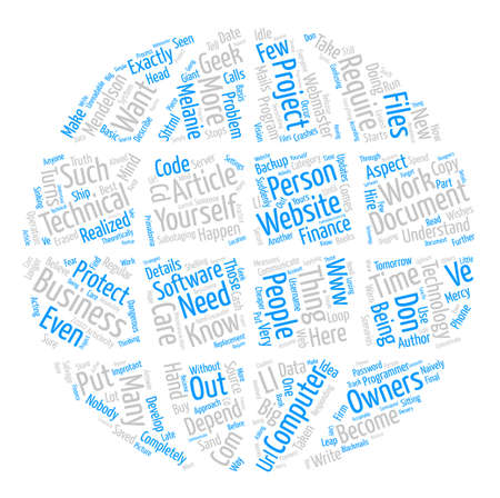 http: Are You At The Mercy Of Computer Geeks text background word cloud concept