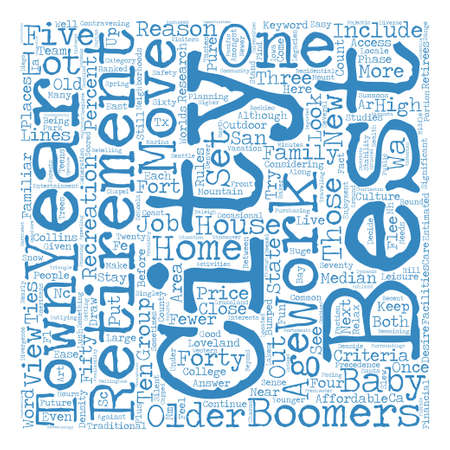 Best Retirement Cities text background word cloud concept Illustration
