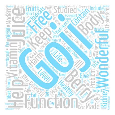 Benefits of Goji juice text background word cloud concept Illustration