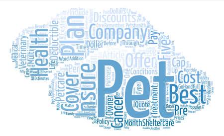 A Comparison of Five Pet Health Insurance Plans Word Cloud Concept Text Background Ilustração