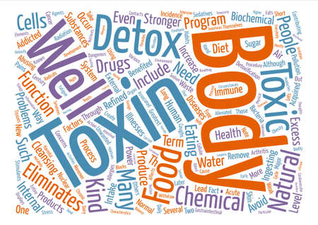 body detox naturally toxins text background word cloud concept