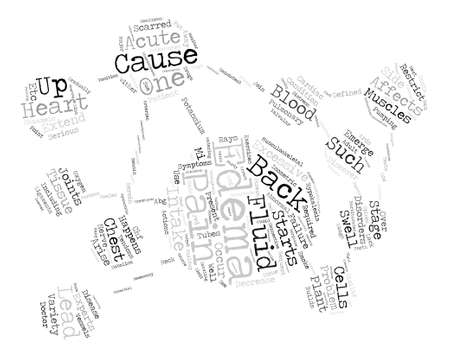 edema: Acute Edema and Back Pain Word Cloud Concept Text Background
